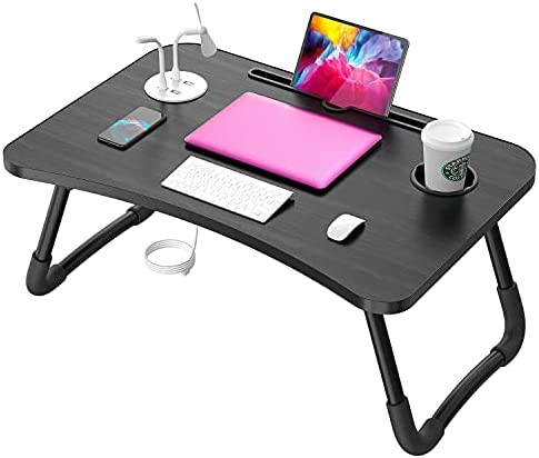 Elekin Laptop Desk for Bed,Portable Folding Lap Desk Bed Table Standing Work Table Bed Tray with 4 USB Port/Cup Holder for Bed Couch/Sofa with Free Gifts(Mini Lamp,Fan)