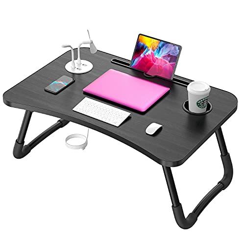 Elekin Tavolino PC Letto Scrivania da Tavolo Supporto USB/Portabicchieri su Divano Letto Tavolino da Letto con Piccola Lampada da Tavolo e Piccolo Ventilatore