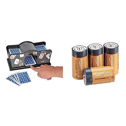 noris - Kartenmischmaschine - batteriebetrieben (2X 1, 5V Batterien Nicht enthalten) für Kartengröße bis 9, 2 x 6 cm - Spielzeug ab 8 Jahren & Amazon Basics - Everyday Alkalibatterien, Typ C, 4 Stück