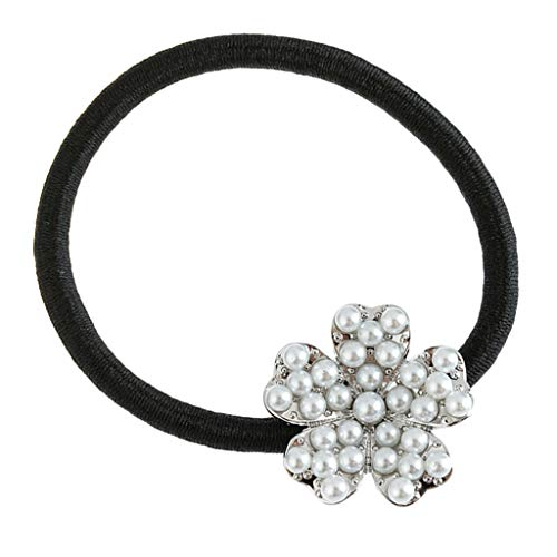 Generic Élastique à Cheveux Fleur avec Perle Cristal Chouchous pour Cheveux Accessoire pour Serre-Tête et Porte-Queue de Cheval - argent