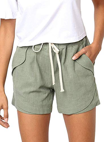 Kyerivs Women's Casual Shorts Summer Drawstring Elastic Waist Comfy Solid Color Short Beach Short Lounge Pants with Pockets