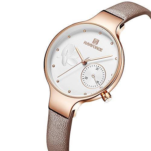NAVIFORCE Damen Quarz Dame Lederband Qualitäts beiläufige Armbanduhr mit Geschenkbox
