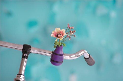 Fahrradvase Frieda Vase für Fahrradlender aus Holz lila