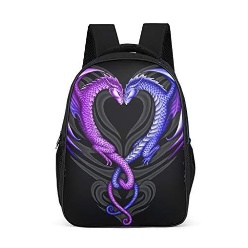 Backpack purple dragon love heart Design Bookbag Water-Resistant Daypack Students Bag for Boys Girls bright gray onesize
