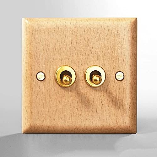 Foicags Estilo de madera sólida Interruptor de pared retro 86 Tipo de interruptor de palanca de latón NORDIC Minimalista Panel Industrial Retro Interruptor interior 1-4 GANG 2 WAY SOLO DOBLE CONTROL D