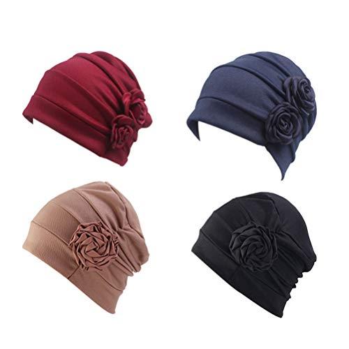 KESYOO turbante para quimioterapia feminino de algodão, gorro de caveira para pacientes com câncer e perda de cabelo, cachecol para cabeça para dormir, 4 peças, 2, 27x27x1.3cm