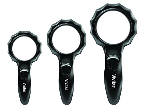 Vivitar Optics LED Magnifying Glasses, Set of 3 Includes 6 Powerful LED Lights on Each Magnifier, Perfect for Reading Fine Print, VIV-MAG-3