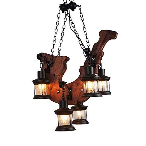 Luxurious Solid Wood Plug inr Musical Notes Pen Shop Restaurant Hanging Light Kerosene Lamp 6 Head Bar Hanging Lights Saxophone Retro Industrial Style E27 Glass Lampshade Coffee