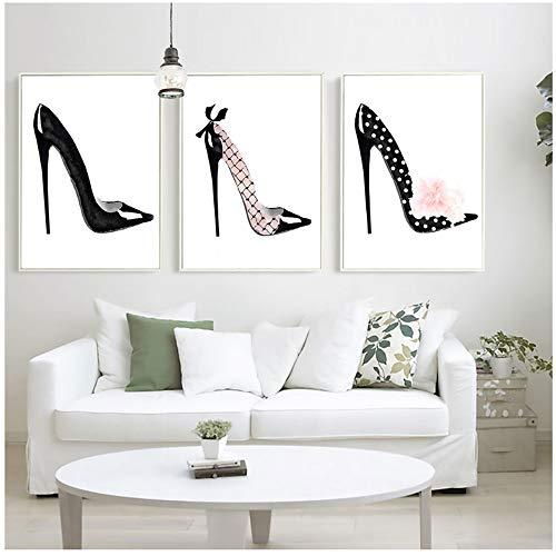 NIEMENGZHEN Imprimir en Lienzo Moda Negro Zapatos de tacón Alto Carteles e Impresiones Decoración para la Imagen del hogar 60x80cmx3pcsSin Marco
