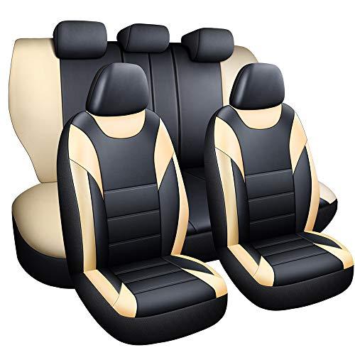 Walking Tiger Fundas para asientos de coche, maletín interior, piel sintética, 5 asientos para Polo T-ROC A3 A 4 A6 (Beige)