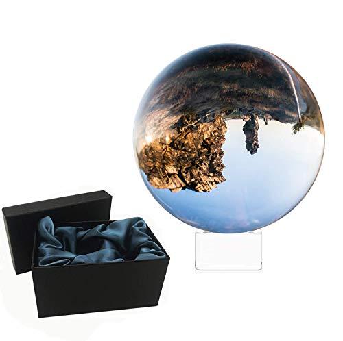 LS&GHY K9 Kristallkugel mit Ständer, Fotokugel mit Kristall Ständer, Geschenkbox – Klare Kristallkugel Lensball für Fotografie – Glas Kugel Wahrsager & Meditation (80mm)