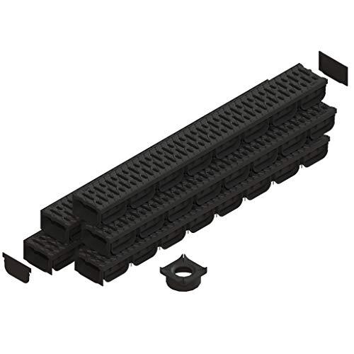 Spark 2 canaleta de drenaje con rejilla de plástico color negro kit 5 metros