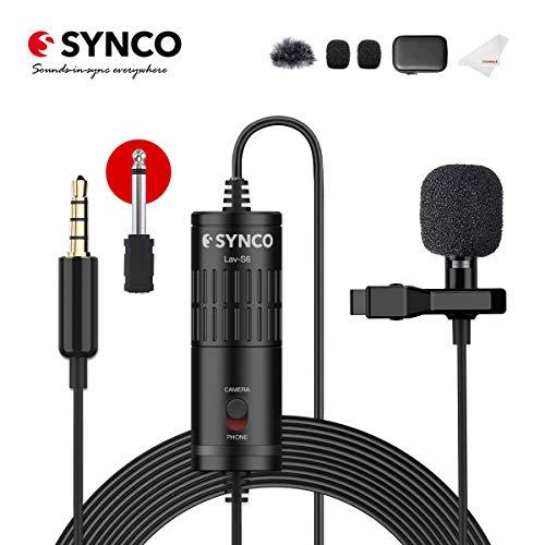 外付けマイク-小型集音マイク-全方向性コンデンサーマイク-ミニクリップマイク-ピンマイク 高音質 オフィスマイク スマホ/一眼レフ カメラ用マイク 録音用マイク 携帯/ビデオカメラ対応 6mオーディオケーブル 3.5 mm TRS/TRRS 録音 日本語説明書付き SYNCO Lav-S6