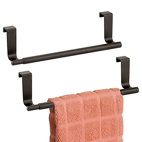 """mDesign Adjustable, Expandable Kitchen Over Cabinet Towel Bar Rack - Hang on Inside or Outside of Doors, Storage for Hand, Dish, Tea Towels - Customizable to 17"""" Wide, 2 Pack - Bronze"""