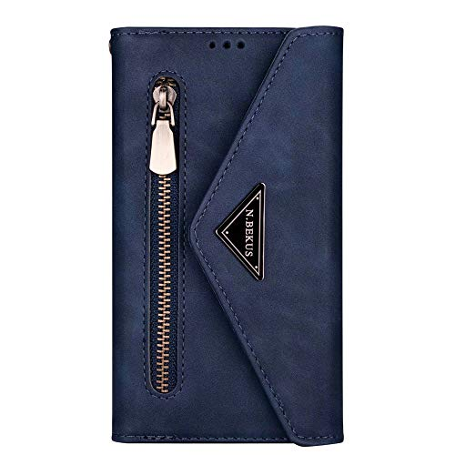 JZ [Zipper[Wrist Strap] Bag Design Wallet Phone Funda For para Samsung Galaxy S20 Ultra / S20 Ultra 5G Protective PU Leather Flip Cover - Blue