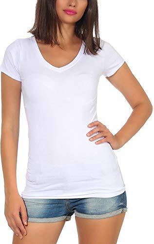 Jela London Damen Longshirt T-Shirt lang Stretch V-Ausschnitt Kurzarm einfarbig sexy eng-anliegend, Weiß 36-38 (L)