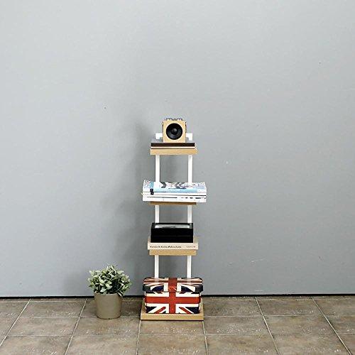 LLLXUHA Bois Massif Multi-Couche Support de Fleurs, Mode Simple Cloison étagère à Livres, Chambre Chevet Étagère, Blanc, 30 * 30 * 87cm