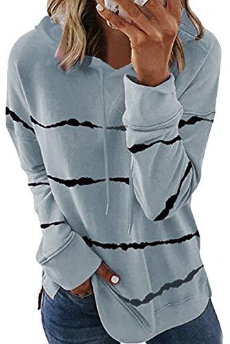 KINGFEN Oversized Hoodie Herbst Longpullover Sweatshirt Hoody Dünne Pullover für Damen Kapuzenpullover Longsleeve Hoddies Oberteile Kuschelpulli Grau L