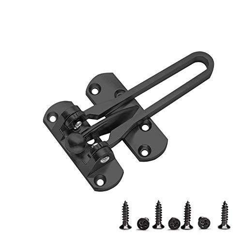 Home Security Door Lock Swing Bar Door Guard for Kids, Hotel Door Latch, Thicken Solid Zinc Alloy Reinforcement Lock, Black