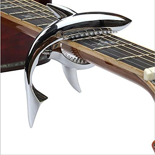 XJPAUTYC Cejilla de Guitarra de tiburón de aleación de Zinc Personalizada, cejilla de Resorte para Guitarra acústica, Folk, Guitarra eléctrica y Ukelele (Plata Brillante)