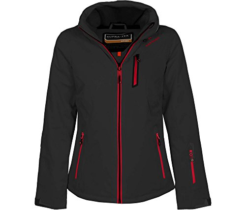 Bergson Damen Skijacke Nice, Black/Chinese red [9014], 40 - Damen