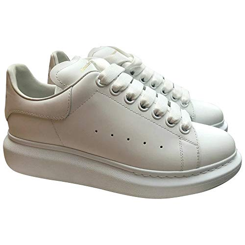 Alexander McQueen White Leather Oversize Low Top Sneakers New/Authentic (Numeric_10_Point_5)