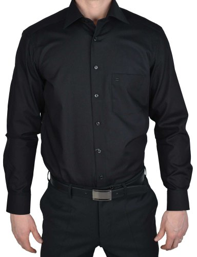 Olymp Luxor Hemd Modern Fit - schwarz, Kragenweite:43