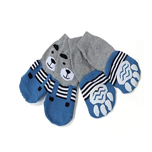 Meioro Anti-Rutsch Hundesocken Traktionskontrolle Cotton Breathable Paw Protectors für Indoor Wear Set von 4 Großen und Mittelgroßen Hunden (3XL, Blau)