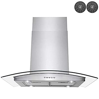 AKDY 36 in. Stainless Steel Island Mount Range Hood With Tempered Glass, Push Button Control and Carbon Filters