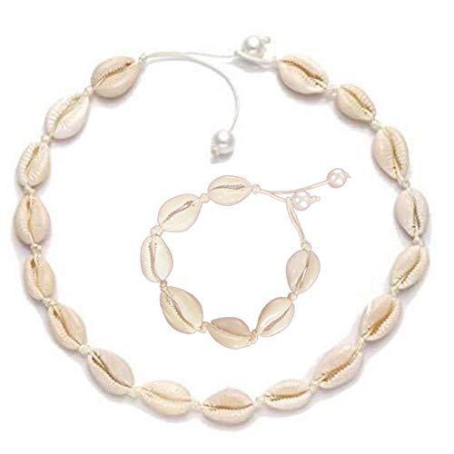 SNIIA 1 Unidades Collar de Gargantilla de Concha Natural Pulsera de Tobillera Collar de Playa Gargantilla Hawaiana Puka Chip Cuentas de Conchas de mar Hechas a Mano Ajustables para Damas niñas