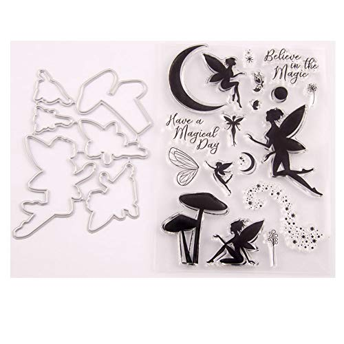 3.9 by 5.9 Inches Fairy Moon Letters Flower Stamps and Die Set for Scrapbooking Card Making Christmas Stamps and Dies (T1536)