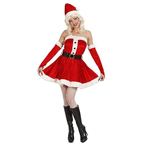 Widmann 1495 x Adultes Costume Miss Santa en Velours et Peluche, Robe, Ceinture, Gants et Chapeau