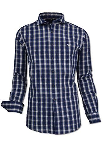 Carlo Colucci Kariertes Herren Hemd mit modernem Kent-Kragen, Navy-Weiß Blau/Weiß M