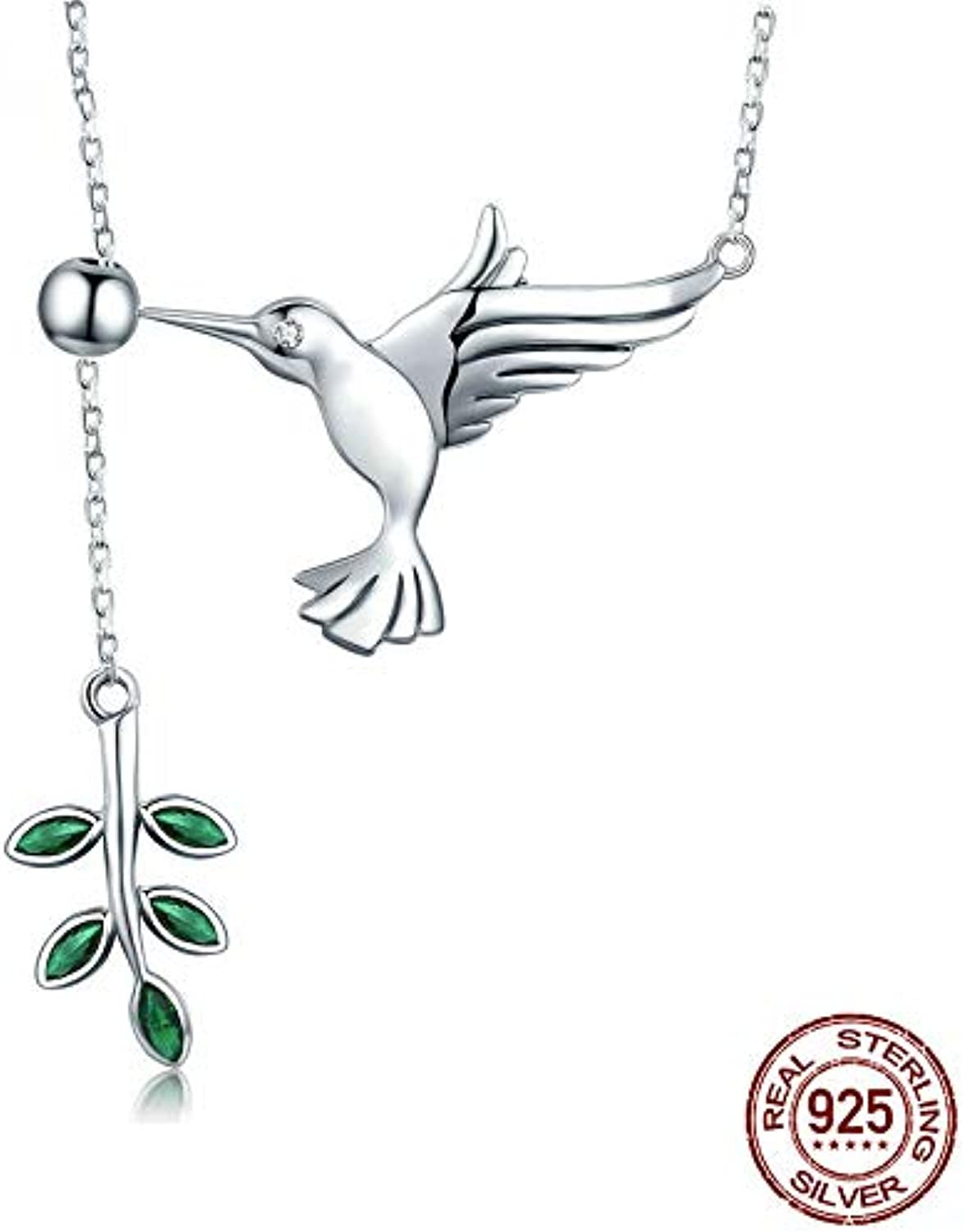 925 Sterling Silver Spring Bird & Tree Leaf Leaves Dangle Pendant Necklace for Women Silver Jewelry