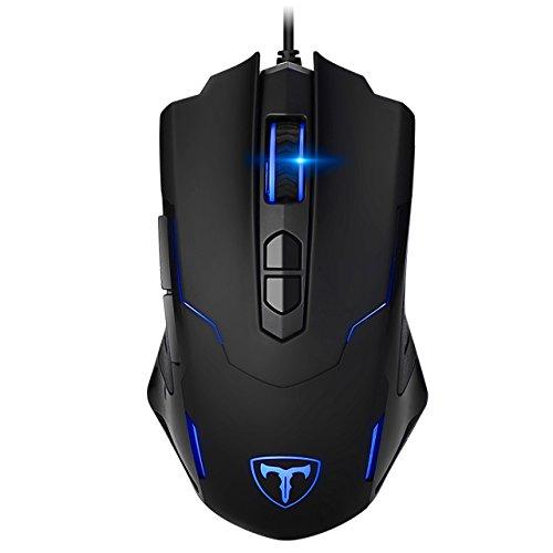 Biijok PC Gaming Maus, Gamer Maus 7200DPI Computer Maus mit Kabel Hohe Präzision für Pro Gamer mit 7 programmierbaren Tasten/ LED/ ergonomisches Design/ USB-Wired Maus optisch (Schwarz)