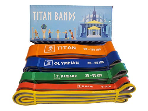 FDE Titan Bands - Dual Layer Pull Up Assistance Resistance Bands - Set of 5 | Extra Strong and Durable | Fitness Band Set for Workout, Exercise, Training, Strengthening, Stretching