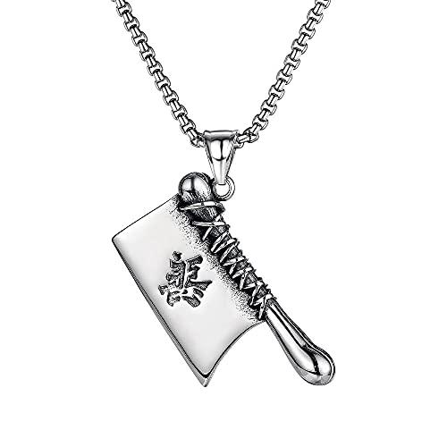 Halskette Persönlichkeit Flut Marke Koreanische Retro Anhänger Männliche Straße Herrschsüchtig Gut und Böse Küchenmesser Titanstahl Halskette