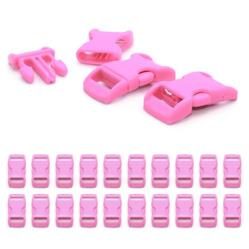 """Fermoir à clip en plastique, idéal pour les paracordes (bracelet, collier pour chien, etc), boucle, attache à clipser, grandeur: 3/8"""", 29mm x 15mm, couleur: rose, de la marque Ganzoo - lot de 20 fermoirs"""