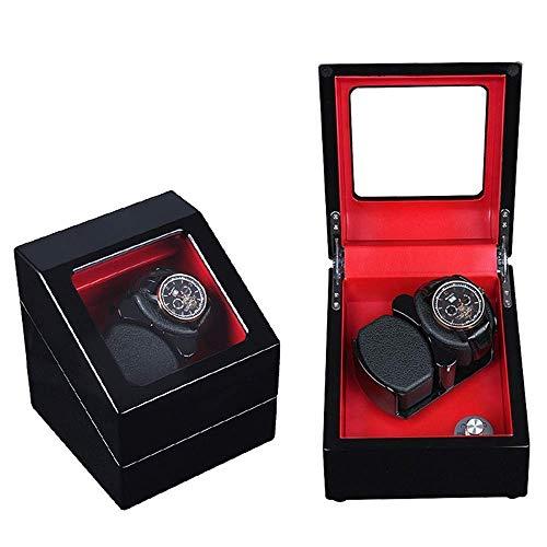 XUSHEN-HU Bobinadora automática de doble reloj de fibra de carbono, caja de relojes mecánicos con 4 modos de rotación y motor silencioso Mabuchi