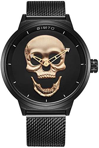 Relojes de Pulsera Hombres Cráneo Negro Metal Movimiento de Cuarzo Correa de aleación-Oro