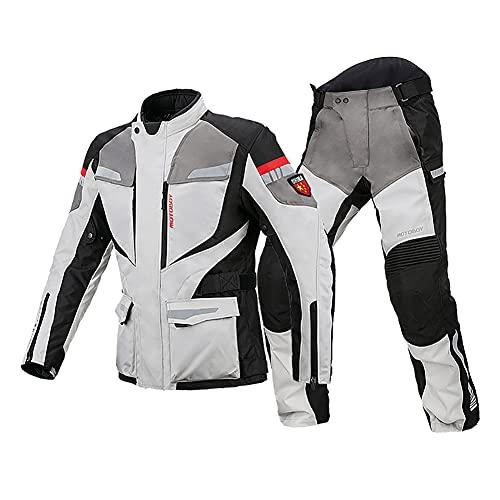 ZDSKSH Motorradkombi Herren 2 Teilig Textil Motorrad Jacke + Hose Mit Protektoren, Wasserdicht, Winddicht Und Atmungsaktiv, Ganzjährig