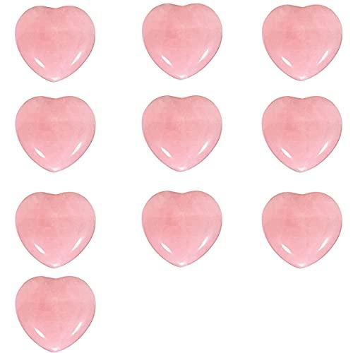 10 pièces en forme de coeur rose cristal Rose Quartz...