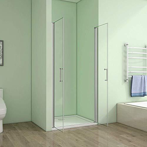 80cm Duschabtrennung Verstellbereich von 76-80cm Höhe:185cm Duschtür Doppel Nischentür Duschwand