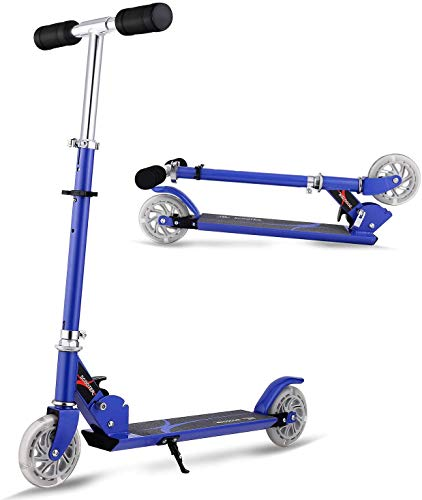 ANCHEER Trottinette pour Enfants Pliable et Réglable en Hauteur avec 2 Roues Lumineuses Scooter en Aluminium Portable pour Les Enfants/Filles de 4-12 Ans Jusqu'à 60KG
