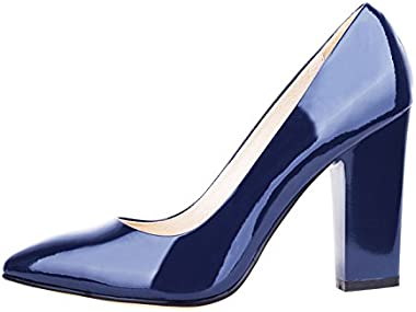 Verocara Women's High Block Heel Pointy Toe Elegant Style Genuine Leather Dress Pump for Party and Office
