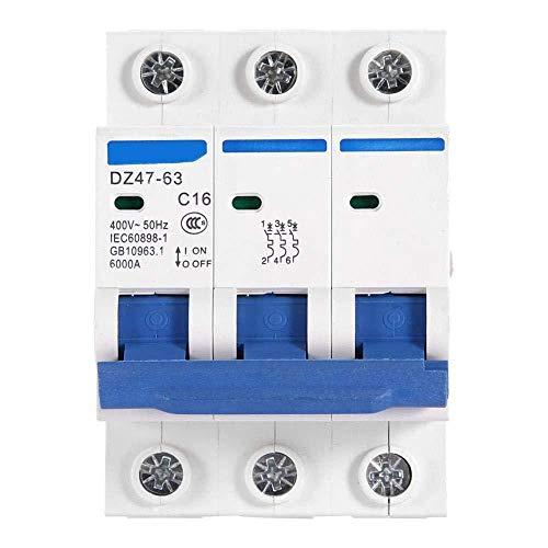 Disyuntor doméstico Disyuntor de cable DZ47-63 Disyuntor miniatura 3P Disyuntor de aire Protección contra fugas Interruptor de aire 400 V 6A / 10A / 16A / 20A (16A) -32A-40A