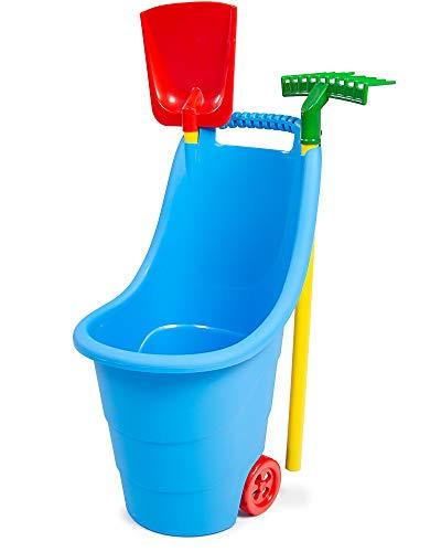 Ondis24 Kinderschubkarre mit 2 Rädern, Gartentrolley ab 3 Jahren, mit Schaufel & Rechen, satte Farben, leichtes Gewicht
