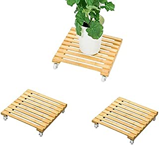 Rubik Plant Pot Caddy Wooden Plant Base Roller Stand Moving Tray Square Indoor Outdoor on Roller Patio/Flower Pot (30x30c...
