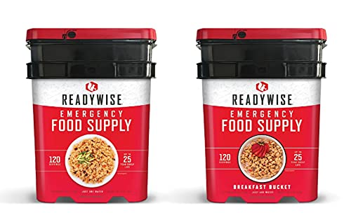ReadyWise Long Term Emergency Food Supply, Breakfast and Entree Variety (2 Buckets- Total of 240 Servings)