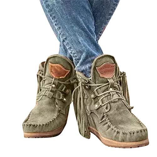 Damskie botki z frędzlami, zamszowe retro botki luksusowe matowe buty, retro frędzle krótkie płaskie buty śnieżne
